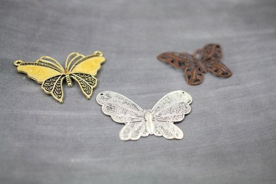 3 Metal Butterfly Pendants for Jewelry Making