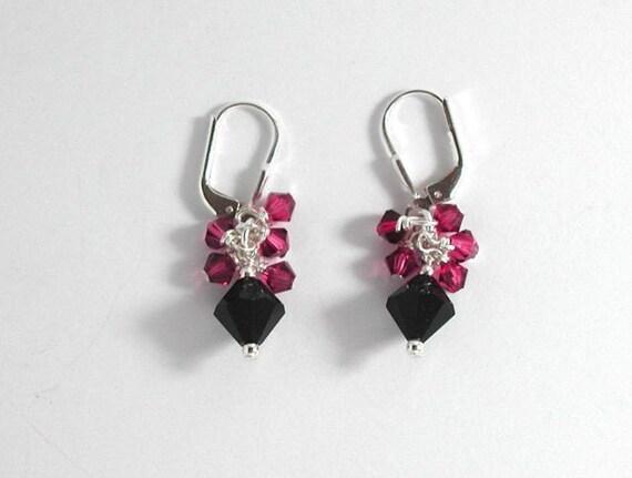 Fuchsia and Black Swarovski Crystal Earrings