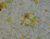 HOLD for BAnne08 Vintage Upcycled Reclaimed Sheet Fat Quarters (Yellow Roses)