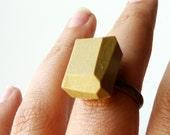 golden green geo ring