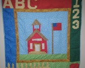 New Paper Pieced Mini Quilt Wall Hanging Red School House