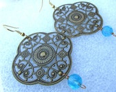 Blue Filigree Flower Earrings