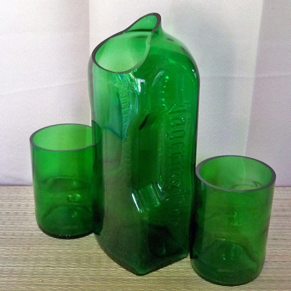 Eco Friendly Recycled Jagermeister Bottle Carafe and Jamesthon Tumblers Set