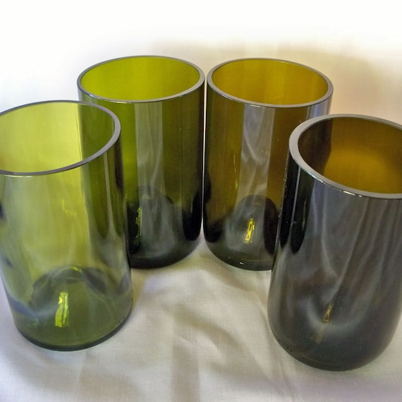 Wine Bottle Tumblers in Various Shade of Green