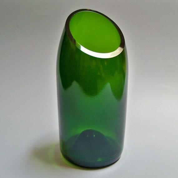 Recycled Brut Bottle Angle-Cut Vase