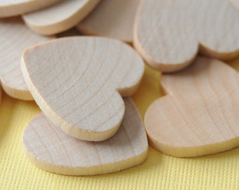 CRAFT ROOM CLEARANCE - Flat Wooden Hearts - 1.25'' x 1.25'' - 90 Pieces