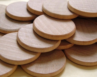 1'' Flat Wooden Circles - Set of 25 - Great for PENDANTS AND MAGNETS
