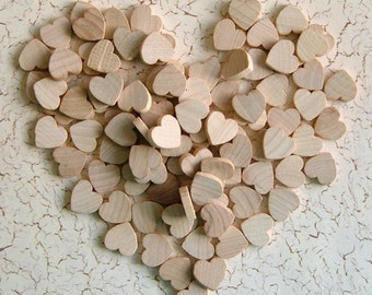 1/2'' Flat Wooden Hearts - 25 pieces - Great for EARRINGS, PENDANTS and MAGNETS