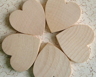 CRAFT ROOM CLEARANCE - 2'' Flat Wooden Hearts - 25 pieces