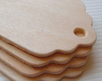 12 Scalloped Wood Gift Tags - 3'' Tall
