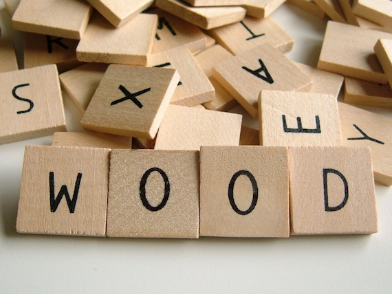 3/4'' Flat Wooden Alphabet Squares - Set of 24 - Great for PENDANTS, EARRINGS and MAGNETS