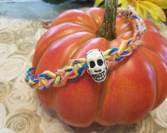 Day of the Dead Multi-Colored Hemp Necklace with Skull Bead