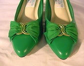 Sexy 80s Vintage New Vegan Emerald Pumps 6.5 M
