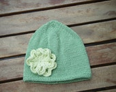 Handknitted Bamboo Baby Beanie with flower attached RESERVED for fifihall
