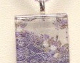 Glass Tile Pendant  Necklace (157) FREE SHIPPING