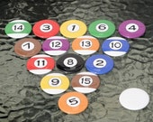 Pool Ball Magnets 1 1\/2 inch Set of 16