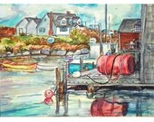 PEGGY'S COVE WATERFRONT 11x15 original watercolor painting ooak