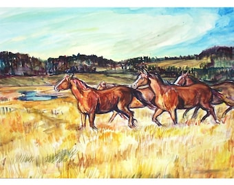 WESTERN HORSE HERD - 11x15 Signed Original Watercolor Painting, Original, Western, Horse, Hills, Grass