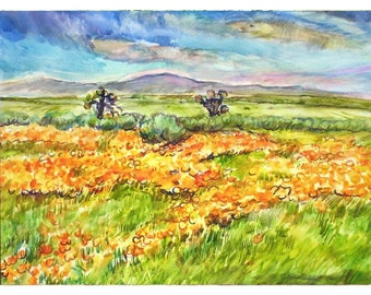 LAND of the Golden Poppies 11x15 Signed Original Watercolor Painting