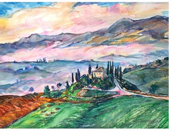 TUSCAN DAWN 11x15 original watercolor OOAK, Italy, Italian, Tuscany