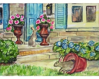 DOORSTEP BUNNIES - 11x15 original watercolor landscape painting OOAK, Doorstep, Bunny, Bunny Rabbit, Flower