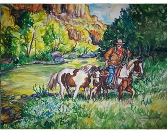 CANYON PAINTS -  11x15 original watercolor landscape painting OOAK ,Western, Canyon,Cowboy, Horse,Paint Horse, Rider, Stream