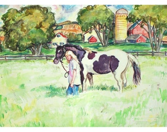 FARM PAINT -11x15 Signed Original Watercolor Painting OOAK - Country, Farm, Rural, Girl, Horse, Pasture, Field, Barn