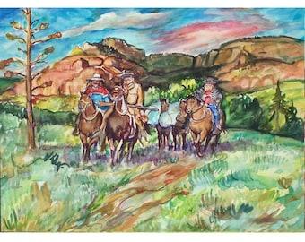 MOUNTAIN MEN Ride 11x15 Signed Original Watercolor OOAK