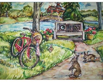 PARK BUNNIES -11x15 original watercolor landscape painting OOAK, Bunny, Rabbit,  Bunny Rabbit, Park, Lake, Bike, Bench, Animal, Trees