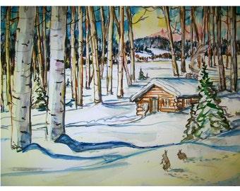 ASPEN VALLEY BUNNIEs - 11x15 original watercolor landscape painting OOAK, Winter, Snow, Aspen Tree, Cabin, Bunny Rabbit