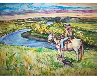 WESTERN RIVER - 11x15 original watercolor landscape painting OOAK, Western, Cowboy, Horse, Dog, River, Country