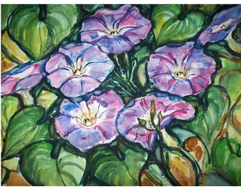 MORNING GLORY Vine -11x15 original painting landscape watercolor OOAK, Flower, Garden, Floral, Morning Glory, Blue, Green