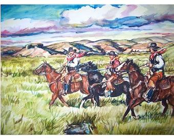 WESTERN RIDERS- 11x15 original painting landscape watercolor OOAK, Original, Western, Cowboy, Horse, Rider, Mesa, Range, Ranch
