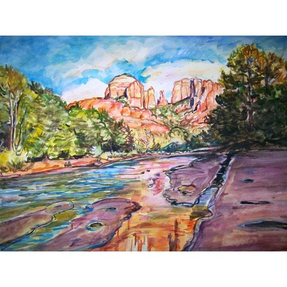 Sedona Summer -11x15 original watercolor landscape painting OOAK, Arizona, Western, Desert, Red Rock, Oak Creek, Cathedral Rock, Trees