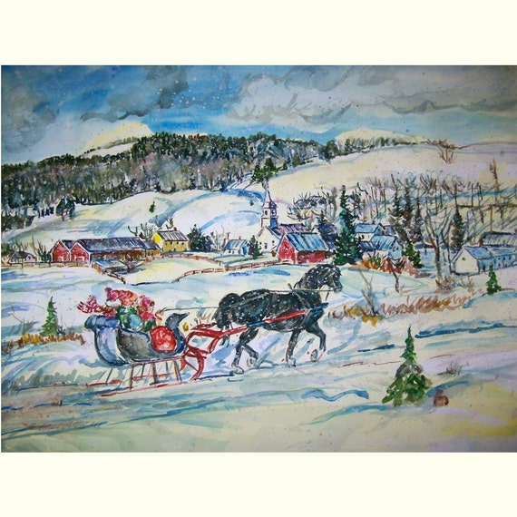 Dashing Through The Snow -11x15 original watercolor landscape painting OOAK, Winter, Snow,' Sleigh Ride, Horse, Town, Village, Family