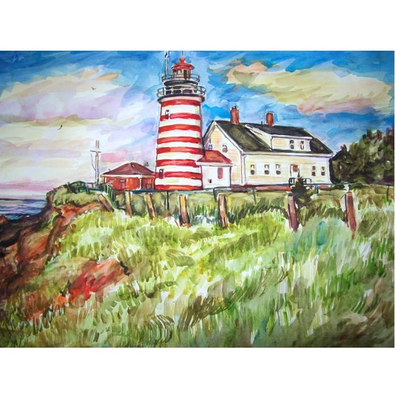 Lighthouse West Quoddy Head  Maine -11x15 original watercolor landscape painting OOAK, Sea,Ocean, Lighthouse,Maine, Coast, Light