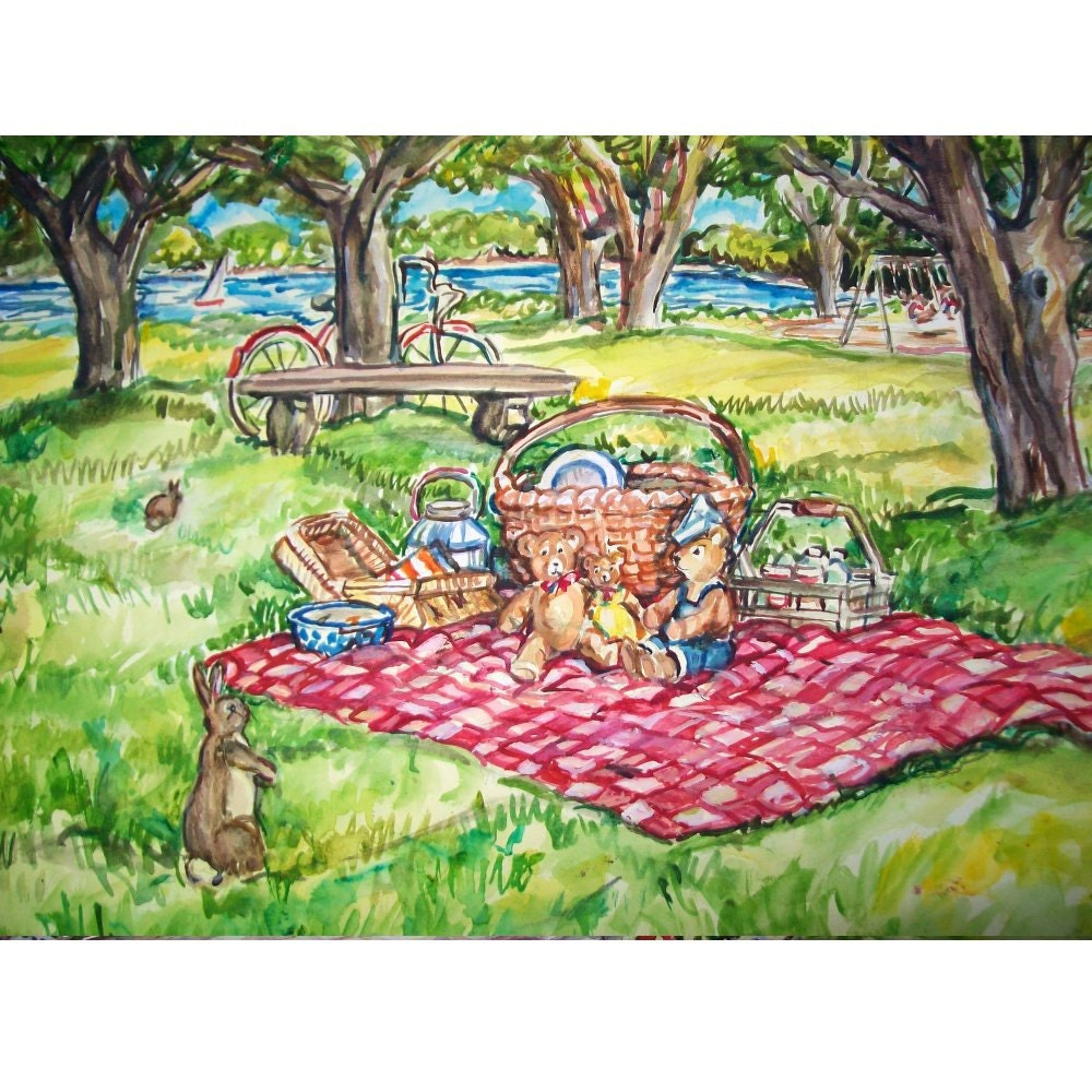 Teddy Bear Picnic 11x15 original watercolor landscape