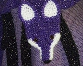 Purple Glitter WTF!...Wrap The Fox Faux Fox Scarf - Short - Funky - Hip - Cool - Hand crocheted