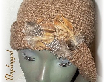 Crochet Flapper Cloche w/ Feather Embellishment Ready-to-Ship