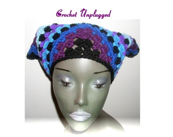 Granny- Square Hand-crocheted Headscarf - Kerchief - Bandana - Ready-to-Ship