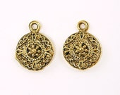 Antique Gold Round Ethnic Tribal Patterned Charm  Q2-17 2