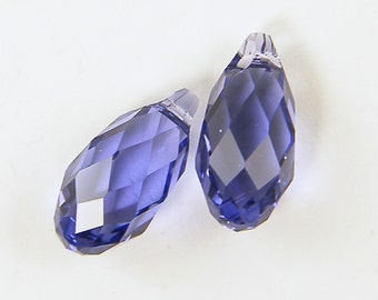 Purple Crystal Beads, Purple Teardrop Beads, Swarovski Tanzanite Crystal Briolette Beads |PU1-9|2