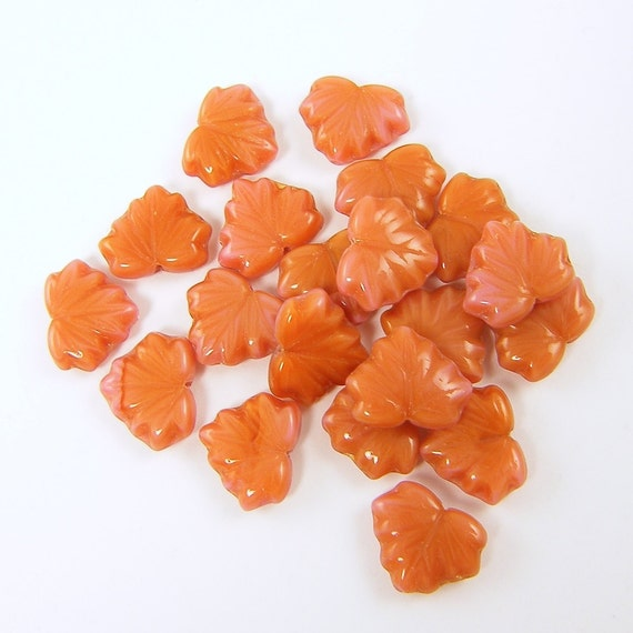 Maple Leaf Beads - Rust and Pink Beads, Czech Glass Beads, Fall Color Beads