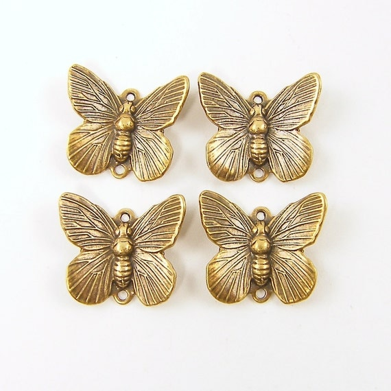 Butterfly Charms - Brass Dimensional Two Hole Charms