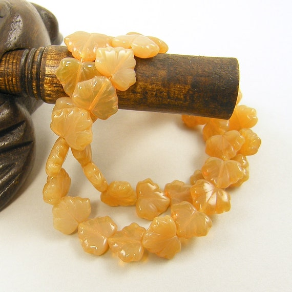 Leaf Beads - 10mm x 13mm Maple Czech Pressed Glass Opal Amber Beads |OB1-1|20