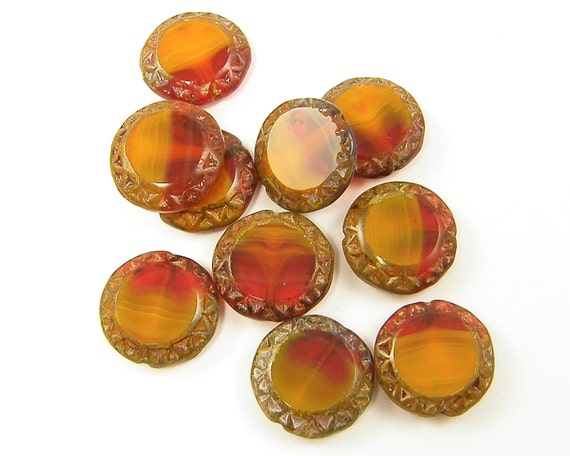 Orange Beads, Orange Red Beads, Flat Orange Red Beads, Amber Goldenrod Czech Glass 16mm Carved Coin Beads