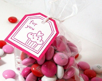 Favor Bags and Tags - Candy Bags with Tags - Party Favors, Birthday Favors - Treat Bags and Tags - Hand Stamped Tags with Cello Bags