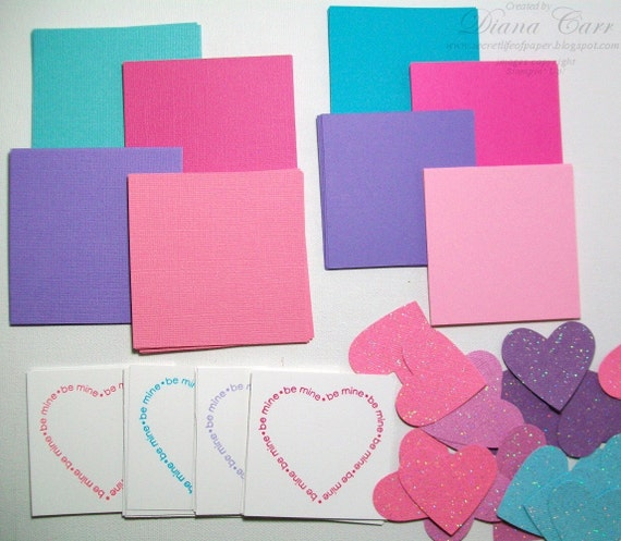 Make Your Own Valentines Kit Pink Purple Aqua Makes 24