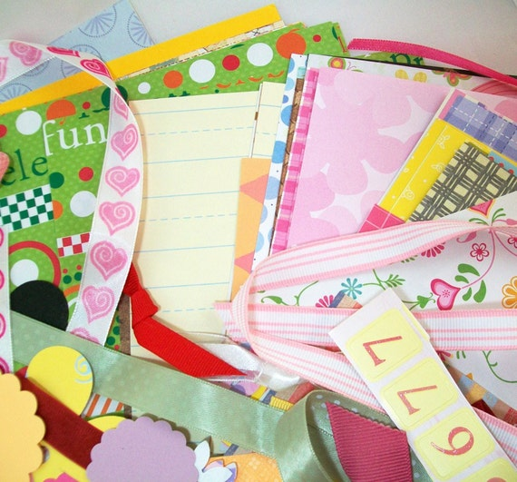 Paper & Embellishment Grab Bag - Great for Scrapbooking and Paper Crafting - Over 275 Pieces - Clearance Sale