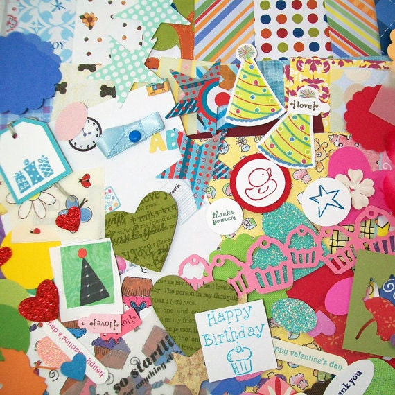 Scrap Pack Grab Bag - Papers and Embellishments - Great for Scrapbooking and Paper Crafting - Over 275 Pieces - Clearance Sale